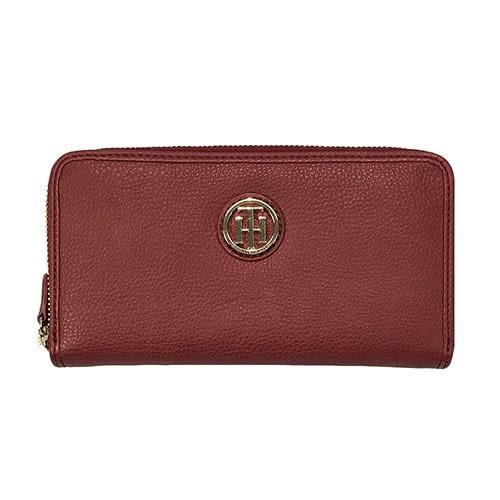 米菲客 TOMMY HILFIGER W86936443 610 立體LOGO設計 時尚素面款 荔枝紋皮革 長夾 皮夾(紅)