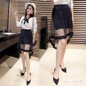 2018新款不規則燕尾裙中長款包臀裙一步網紗半身裙女夏 GB5729『miss洛羽』