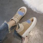 短靴 襪子靴 秋季韓版百搭女高幫復古平底 女鞋休閒學生 迪澳安娜