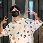 正韓夏季新款卡通印花短袖T恤男韓版bf風五分袖學生半袖打底衫【快速出貨八折一天】