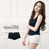 蕾絲短褲NEWLOVER【111-4114】水鑽扣蕾絲短褲(白色)S-L