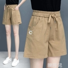棉麻休閒五分褲 純棉短褲女新款夏天寬鬆外穿運動休閒褲子女薄款高腰顯瘦闊腿女褲 韓菲兒