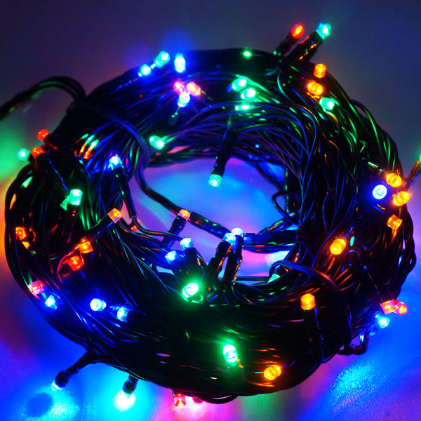 100燈LED燈串聖誕燈(四彩色光黑線)(附控制器跳機)(高亮度又省電)