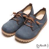 DIANA 樂活休閒--飽和色系懷舊復古方楦真皮休閒鞋-藍★特價商品恕不能換貨★