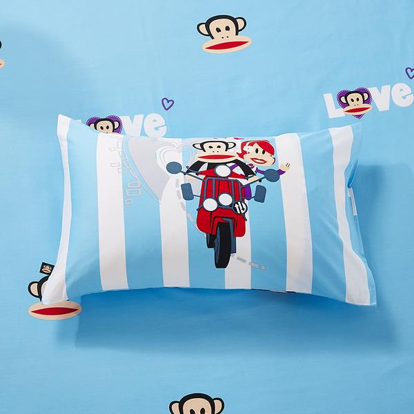 paul frank 正版 有鐳標 卡通床包 標準雙人 一起去旅行 床包組 精梳棉 5尺 大嘴猴 PF 紅色 佛你企業