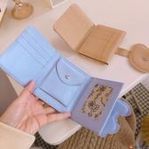簡約錢包女可愛日系韓版格子短夾零錢包卡通PU三折卡包【淘夢屋】