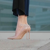春裸色尖頭高跟鞋中跟細跟單鞋黑色淺口職業工作鞋紅色婚鞋 快速出貨