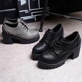 英倫風女鞋秋復古厚底單鞋高跟潮款式系帶圓頭學院鬆糕牛津小皮鞋