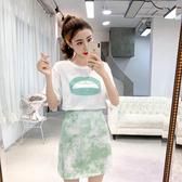 超殺29折 韓系圓領印花T恤包臀半身裙套裝短袖裙裝