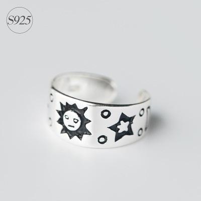戒指 925純銀-太陽刻紋生日情人節禮物女開口戒73dt458【時尚巴黎】