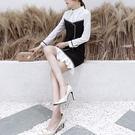 VK精品服飾 韓系時尚氣質襯衫領黑白撞色修身長袖洋裝