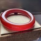 玉鐲 原色紅瑪瑙中國風手鐲胖圓條巴西紅玉髓鐲子滿色本命年