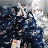 100%法蘭絨雙人.5×6.2尺四件式兩用被毯床包組☆冬季首選☆《火鶴鳥》