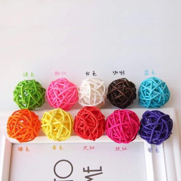 彩色藤球,幼兒園,婚禮商場裝飾藤球,白藤球永生花禮盒裝飾物,3公分2個售價