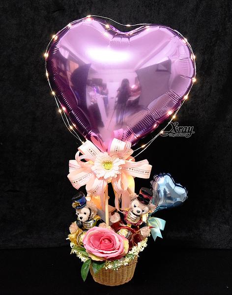 達菲x雪莉梅聖誕好朋友幸福熱氣球,情人節禮物/熱氣球/金莎花束/亮燈花束,節慶王【Y917030】