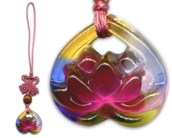 鹿港窯~居家開運水晶琉璃手機吊飾~荷花◆ 附精美包裝