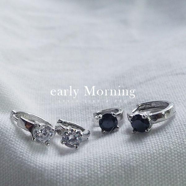 ►單只◄ early Morning - 925純銀 男生小鑽圓圈耳環 耳骨環 男女適用 【SCW014】