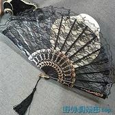 折扇 擺拍道具黑暗蘿莉病嬌哥特風洛麗塔復古風日式和風蕾絲旗袍扇子 快速出貨
