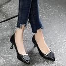 2020年春秋季新款高跟鞋女尖頭細跟單鞋軟皮小跟淺口真皮中跟皮鞋 小艾新品