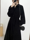 洋裝 新款秋冬女裝2021收腰顯瘦氣質赫本風黑色打底連衣裙子早春【新年禮物】