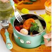 碗防摔防燙不銹鋼304餐具帶手柄雙耳湯碗勺小學生吃飯寶寶碗【齊心88】