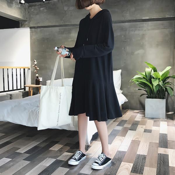 【GZ33】正韓 素面純色短袖長袖連帽棉質洋裝 魚尾裙 連身裙
