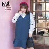 Miss38-(現貨)【A10287】大尺碼背心裙 毛呢藍 荷葉邊下擺 顯瘦V領 無袖連身裙-中大尺碼女裝