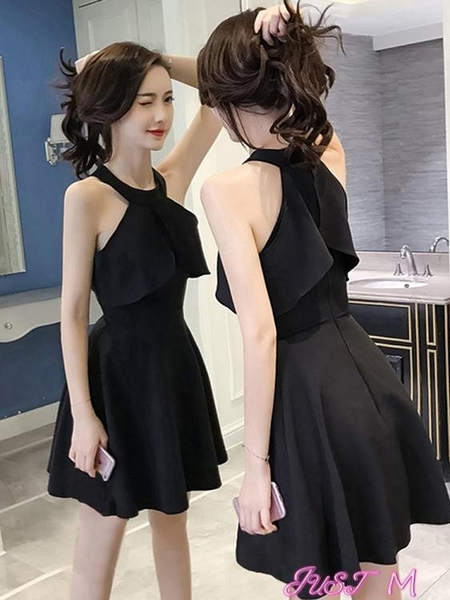 夜店洋裝掛脖小黑裙夜店裙子女夏2021新款氣質復古收腰禮服法國小眾連身裙 JUST M