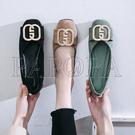 PAPORA幾合圖休閒平底娃娃包鞋KM435黑/米/綠