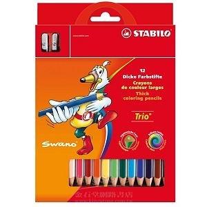 Trio thick系列三角筆身色鉛筆12支裝+削筆器組合(1盒12色)紙盒裝