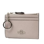 美國正品 COACH 銀字防刮皮革證件鑰匙零錢包-暖灰【現貨】