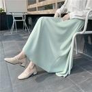 2021夏季新款泫雅風純色雪紡到腳踝長裙A字大擺裙顯瘦仙女半身裙 果果輕時尚