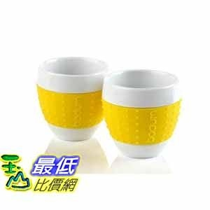[美國直購 ShopUSA] Bodum 2-1/2-Ounce Pavina Porcelain Cups with Silicone Grip, Yellow, Set of 2