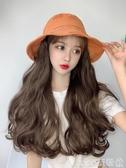 假髮帽漁夫假髮帽子一體時尚女夏天帶帽長卷髮韓版潮百搭網紅款遮陽防曬  COCO