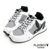 PLAYBOY 網狀亮蔥 拼接休閒鞋-白