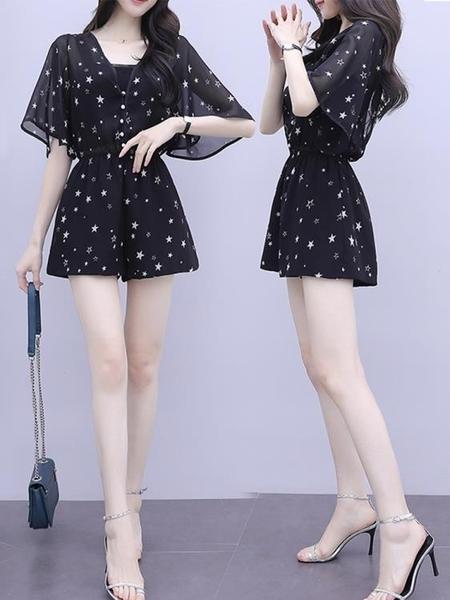 連身短褲 2020夏季新款韓版五分袖連體衣夏款碎花高腰顯瘦雪紡連體褲女短褲