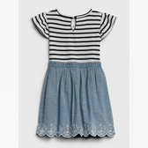 Gap女幼時尚鬆緊腰刺繡下擺連衣裙539823-海軍藍條紋