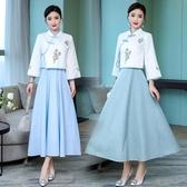 民族風套裝-大尺碼民族風女裝 兩件套吊帶連身裙 大擺顯瘦長裙‧衣雅
