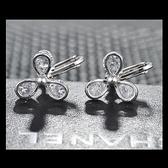 耳環 925純銀 鑲鑽-三葉草夾式生日情人節禮物女飾品2色73hz87【時尚巴黎】