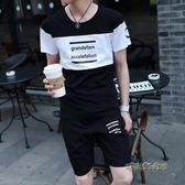 夏季短袖t恤桖男潮牌套裝初中高中學生夏天運動一套衣服帥氣夏裝「時尚彩虹屋」