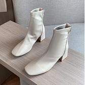 馬丁靴馬丁靴女英倫風2021新款春秋季單靴方頭粗跟網紅瘦瘦高跟鞋短靴子 雙11 伊蘿