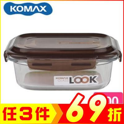 韓國 KOMAX 巧克力長形強化玻璃保鮮盒600ml 59075【AE02253】