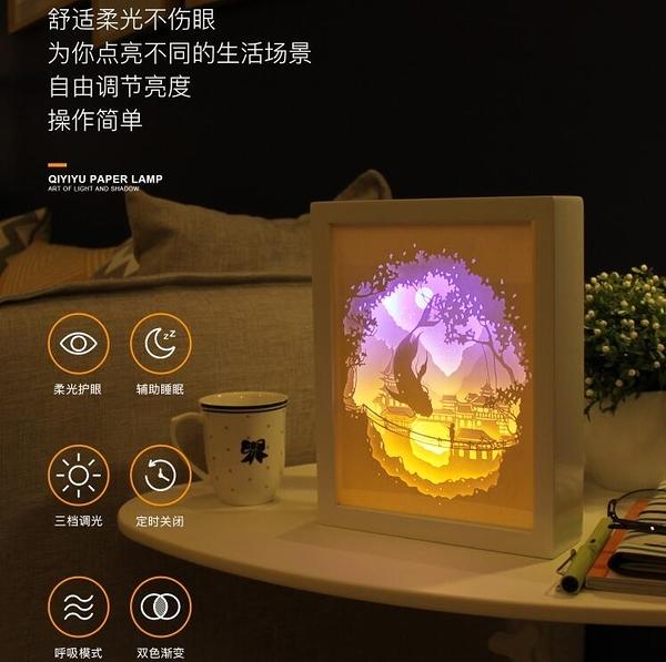 diy光影紙雕燈 diy材料包手工製作疊影剪紙刻雕刻抖音創意台燈 - 歐美韓熱銷