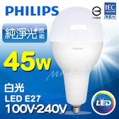 【有燈氏】PHILIPS 飛利浦 LED E27 45W 高亮度 大燈泡 球泡 無藍光【PH-E2745W】