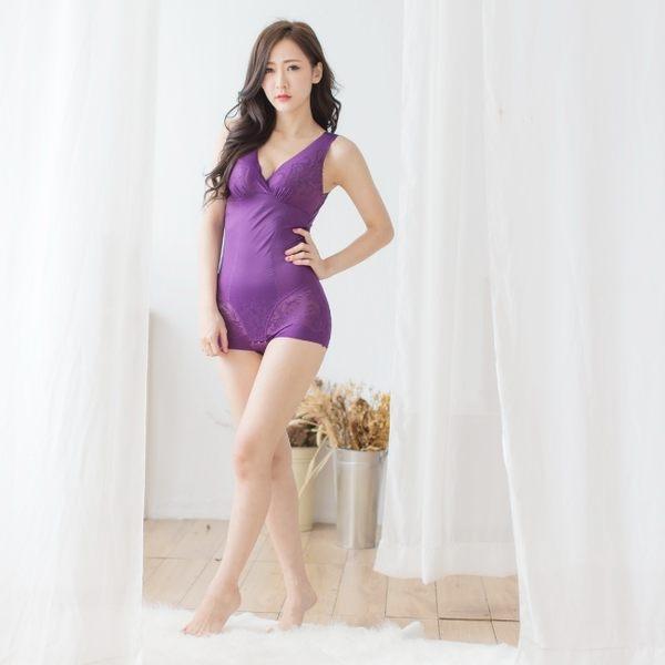 360丹無痕激瘦平腹一片式拉繩聚攏罩杯塑身衣 M-XXL(羅蘭紫) - 伊黛爾