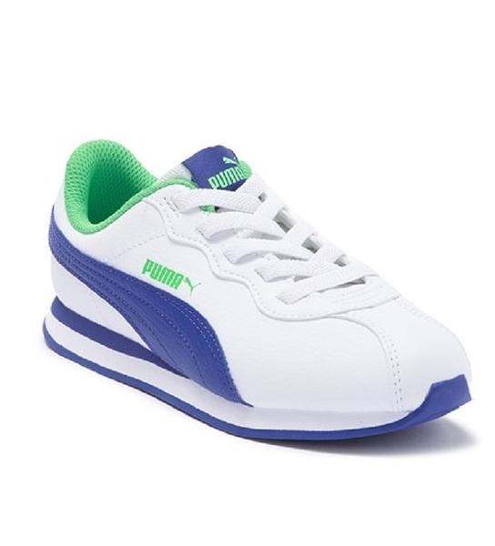 PUMA Turin II Sneaker 童鞋 中童 慢跑 皮革 基本 白藍 【運動世界】 36677507