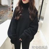 黑色假兩件衛衣新款女加絨加厚無帽韓版寬鬆ins超火的上衣秋 交換禮物