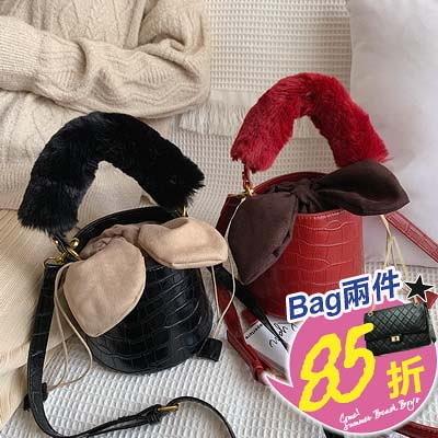 包任選2件85折水桶包可愛毛毛挽手側背包手提包水桶包【08G-T0306】