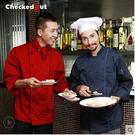 藍色廚師服 酒店西餐廳廚房服裝長袖 男雙...