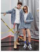 春秋季情侶裝牛仔連帽外套女裝寬鬆中長款牛仔衣2018新款韓版bf潮  檸檬衣舍